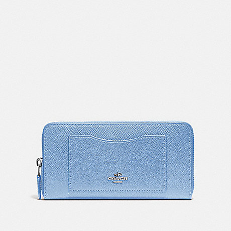 COACH ACCORDION ZIP WALLET - SILVER/POOL - f54007