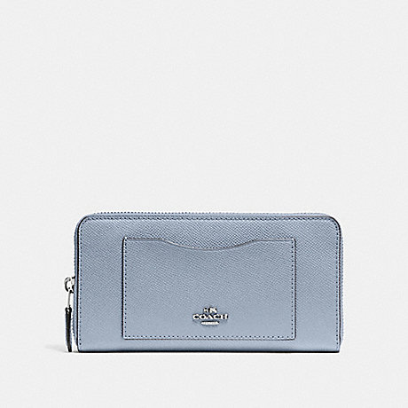 COACH ACCORDION ZIP WALLET - STEEL BLUE - F54007