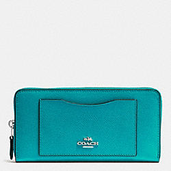 COACH ACCORDION ZIP WALLET IN CROSSGRAIN LEATHER - SILVER/TURQUOISE - F54007