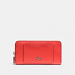 COACH ACCORDION ZIP WALLET - SILVER/WATERMELON - F54007