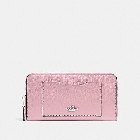 COACH ACCORDION ZIP WALLET - CARNATION/SILVER - F54007