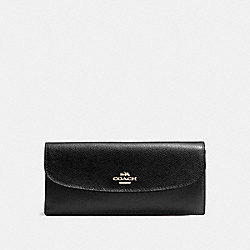 SOFT WALLET IN CROSSGRAIN LEATHER - IMITATION GOLD/BLACK - COACH F54008