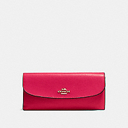 COACH SOFT WALLET IN CROSSGRAIN LEATHER - IMITATION GOLD/BRIGHT PINK - F54008