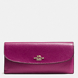 COACH SOFT WALLET IN CROSSGRAIN LEATHER - IMITATION GOLD/FUCHSIA - F54008