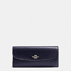 SOFT WALLET IN CROSSGRAIN LEATHER - IMITATION GOLD/MIDNIGHT - COACH F54008
