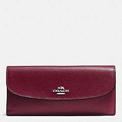 COACH SOFT WALLET IN CROSSGRAIN LEATHER - SILVER/BURGUNDY - F54008