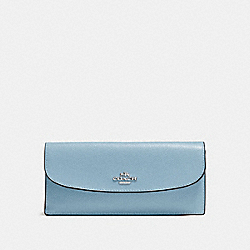 COACH SOFT WALLET IN CROSSGRAIN LEATHER - SILVER/CORNFLOWER - F54008