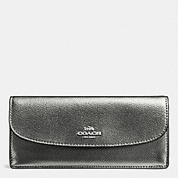 COACH SOFT WALLET IN CROSSGRAIN LEATHER - SILVER/GUNMETAL - F54008