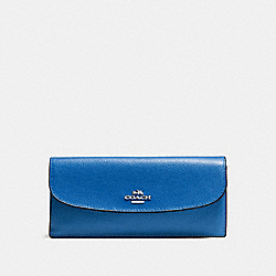 SOFT WALLET IN CROSSGRAIN LEATHER - f54008 - SILVER/LAPIS