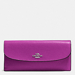 COACH SOFT WALLET IN CROSSGRAIN LEATHER - SILVER/HYACINTH - F54008