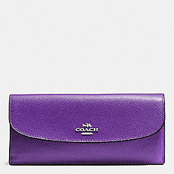 COACH SOFT WALLET IN CROSSGRAIN LEATHER - SILVER/PURPLE - F54008