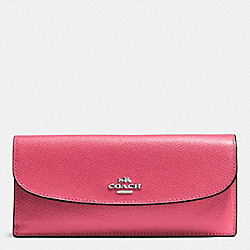 COACH SOFT WALLET IN CROSSGRAIN LEATHER - SILVER/STRAWBERRY - F54008