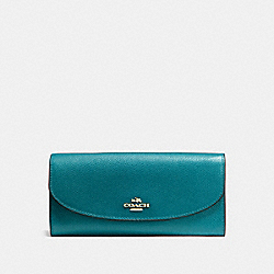 COACH SLIM ENVELOPE WALLET IN CROSSGRAIN LEATHER - IMITATION GOLD/ATLANTIC - F54009