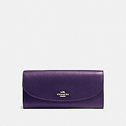 COACH SLIM ENVELOPE WALLET IN CROSSGRAIN LEATHER - IMITATION GOLD/AUBERGINE - F54009