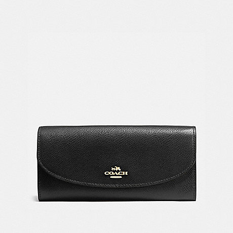 COACH SLIM ENVELOPE WALLET IN CROSSGRAIN LEATHER - IMITATION GOLD/BLACK - f54009