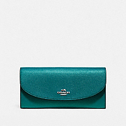 SLIM ENVELOPE WALLET IN CROSSGRAIN LEATHER - f54009 - LIGHT GOLD/DARK TEAL