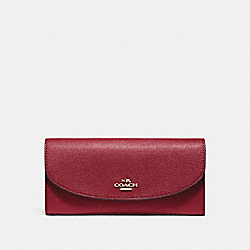 COACH SLIM ENVELOPE WALLET - CHERRY /LIGHT GOLD - F54009