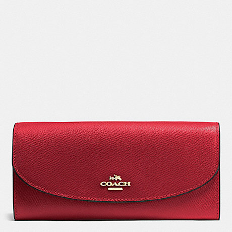 COACH SLIM ENVELOPE WALLET IN CROSSGRAIN LEATHER - IMITATION GOLD/TRUE RED - f54009