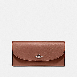 COACH SLIM ENVELOPE WALLET IN CROSSGRAIN LEATHER - LIGHT GOLD/SADDLE 2 - F54009