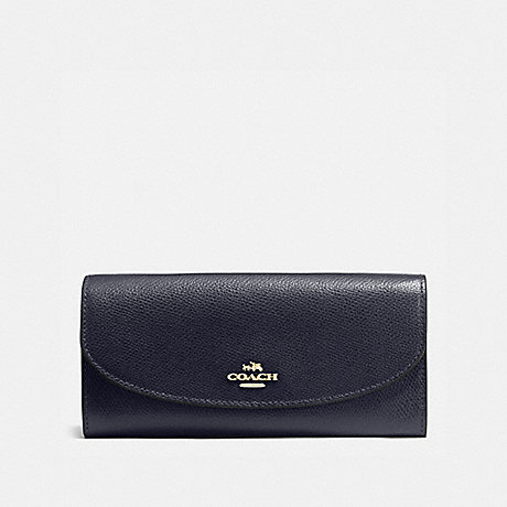 COACH SLIM ENVELOPE WALLET IN CROSSGRAIN LEATHER - IMITATION GOLD/MIDNIGHT - f54009