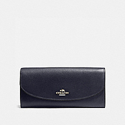 SLIM ENVELOPE WALLET IN CROSSGRAIN LEATHER - f54009 - IMITATION GOLD/MIDNIGHT