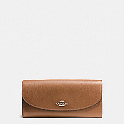 SLIM ENVELOPE WALLET IN CROSSGRAIN LEATHER - IMITATION GOLD/SADDLE - COACH F54009
