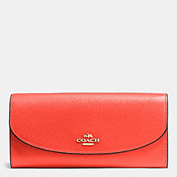 COACH SLIM ENVELOPE WALLET IN CROSSGRAIN LEATHER - IMITATION GOLD/WATERMELON - F54009