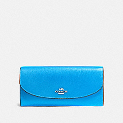 COACH SLIM ENVELOPE WALLET - BRIGHT BLUE/SILVER - F54009