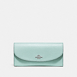 COACH SLIM ENVELOPE WALLET IN CROSSGRAIN LEATHER - SILVER/AQUA - F54009