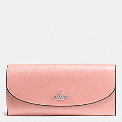 SLIM ENVELOPE WALLET IN CROSSGRAIN LEATHER - f54009 - SILVER/BLUSH
