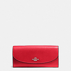 SLIM ENVELOPE WALLET IN CROSSGRAIN LEATHER - f54009 - SILVER/BRIGHT RED