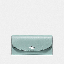 COACH SLIM ENVELOPE WALLET - SILVER/SEA GREEN - F54009