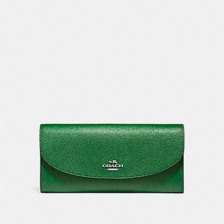COACH f54009 SLIM ENVELOPE WALLET SILVER/KELLY GREEN