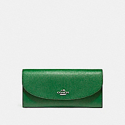 COACH SLIM ENVELOPE WALLET - SILVER/KELLY GREEN - F54009