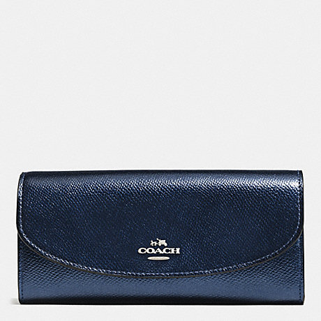 COACH SLIM ENVELOPE WALLET IN CROSSGRAIN LEATHER - SILVER/METALLIC MIDNIGHT - f54009
