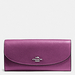 COACH SLIM ENVELOPE WALLET IN CROSSGRAIN LEATHER - SILVER/MAUVE - F54009