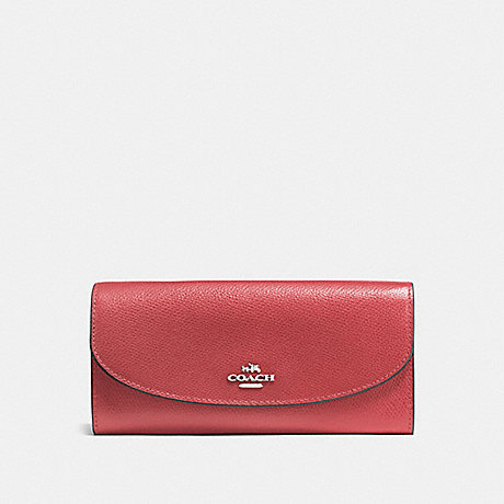 COACH SLIM ENVELOPE WALLET - WASHED RED/SILVER - F54009