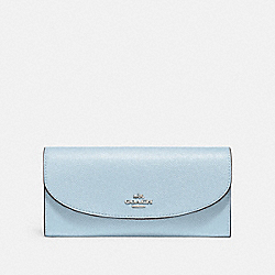 COACH SLIM ENVELOPE WALLET - SILVER/PALE BLUE - F54009