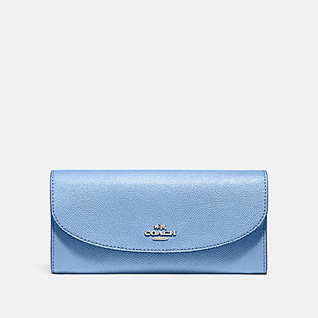 COACH SLIM ENVELOPE WALLET - SILVER/POOL - f54009