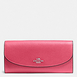 COACH SLIM ENVELOPE WALLET IN CROSSGRAIN LEATHER - SILVER/STRAWBERRY - F54009