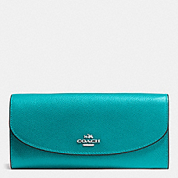 COACH SLIM ENVELOPE WALLET IN CROSSGRAIN LEATHER - SILVER/TURQUOISE - F54009
