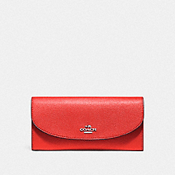 COACH SLIM ENVELOPE WALLET - SILVER/WATERMELON - F54009