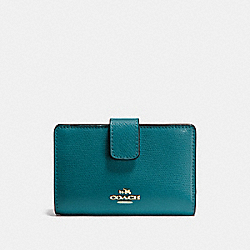 COACH MEDIUM CORNER ZIP WALLET IN CROSSGRAIN LEATHER - IMITATION GOLD/ATLANTIC - F54010