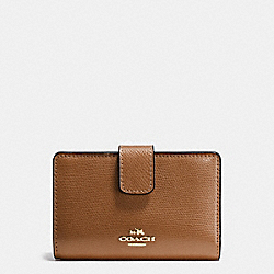 MEDIUM CORNER ZIP WALLET IN CROSSGRAIN LEATHER - IMITATION GOLD/SADDLE - COACH F54010