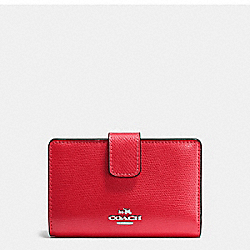 COACH MEDIUM CORNER ZIP WALLET IN CROSSGRAIN LEATHER - SILVER/BRIGHT RED - F54010