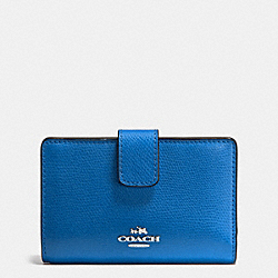 COACH MEDIUM CORNER ZIP WALLET IN CROSSGRAIN LEATHER - SILVER/LAPIS - F54010