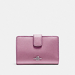 COACH MEDIUM CORNER ZIP WALLET IN CROSSGRAIN LEATHER - SILVER/LILAC - F54010
