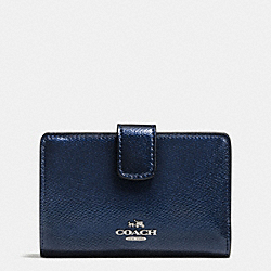 COACH MEDIUM CORNER ZIP WALLET IN CROSSGRAIN LEATHER - SILVER/METALLIC MIDNIGHT - F54010