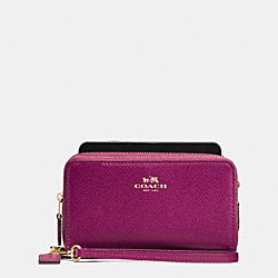 COACH DOUBLE ZIP PHONE WALLET IN FIELD FLORA PRINT COATED CANVAS - IMITATION GOLD/FUCHSIA MULTI - F54011