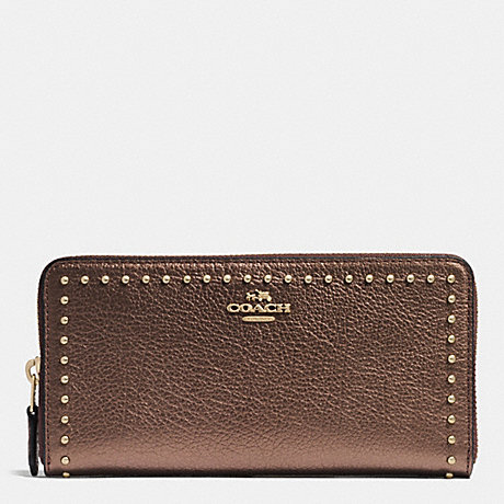 COACH f54019 RIVETS ACCORDION ZIP WALLET IN GRAIN LEATHER IMITATION GOLD/BRONZE